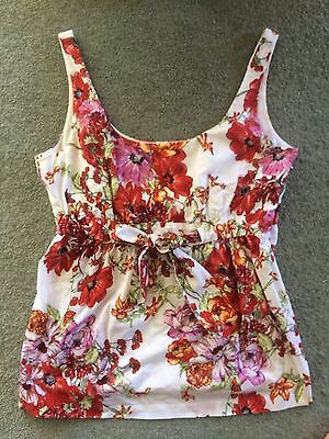 Red Pink White Floral Print Top Cami Singlet Sleeveless 14 Sussan