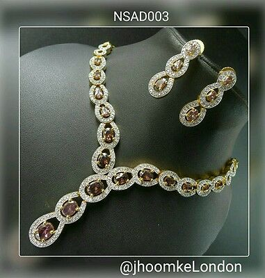 UK Seller gold plated  Indian Bollywood traditional modern fashion necklace set