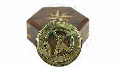 New Vintage Maritime Antique Nautical Sundial  With Wooden Box Free Postage