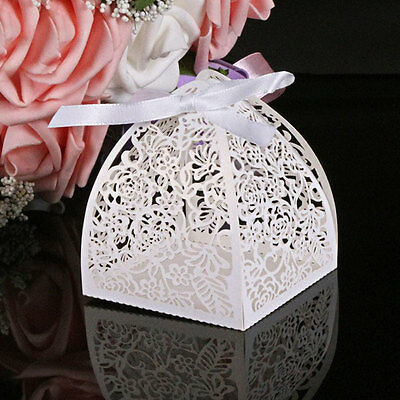 Cage Shape White Laser Cut Party Sweet Wedding Favor Candy Boxes With Ribbon