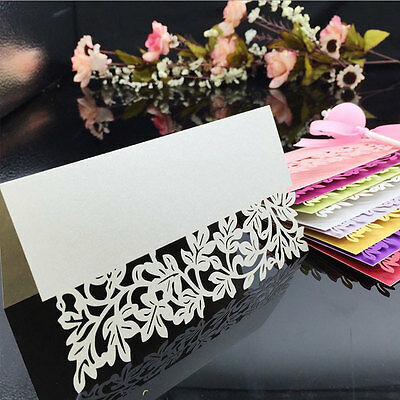 Leaf Lace Border Cut Wedding Birthday Party Table Name Place Cards Favor