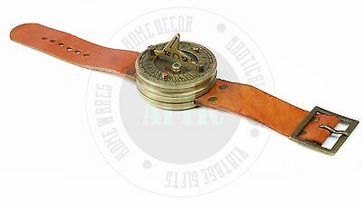 New Vintage Solid Brass Nautical Sundial Wrist Watch with Compass