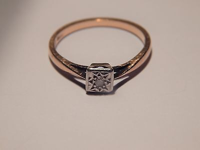 """VINTAGE 9 kt GOLD """"DIAMOND SOLITAIRE"""" ENGAGEMENT RING"""