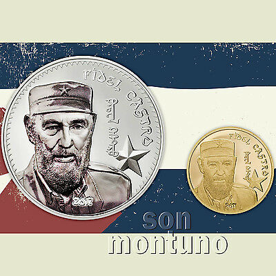 FIDEL CASTRO 2 COIN SET - 1oz SILVER High Relief & 1/2 Gram GOLD - 2017 Mongolia