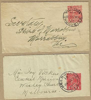 Australia Stationery 1914 KGV 1d Wrapper distinct printings and rates (2)