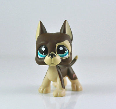 Rare Littlest Pet Shop LPS Brown Great Dane Dog Puppy Blue Dot Eyes Toy #1519