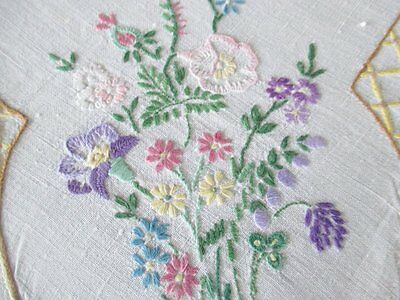 VINTAGE TABLECLOTH HAND EMBROIDERED with FLOWERS-LINEN