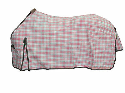 Axiom Polycotton Pink & Green Check Ripstop Unlined Horse Rug 6'6