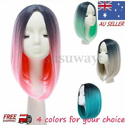 Heat Resistant Synthetic Lace Front Ombre Wigs Long Straight Bob Black Pink Hair