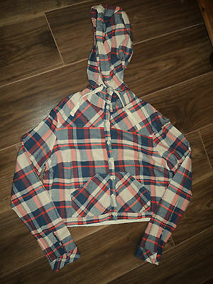 Ladies/girls  check shirt with hood size M = 8-10