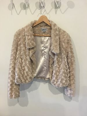 Womens Vintage Short Fur Jacket White Cream Size 8-10