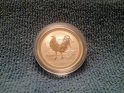 Australia 2005 rare Year of the Rooster 1/2 oz .999 Solid Silver Coin with case