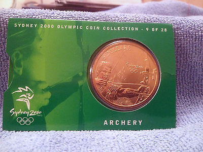 Australia Sydney Olympic 2000 $5 Archery Coin Uncirculated Condition On Card