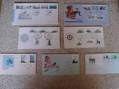 7 x Australian First Day Covers Antarctic Scenes Ships
