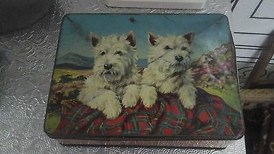 Vintage Tin Burtons Biscuits Inside Vintage Sewing Items 2 Westie Dogs