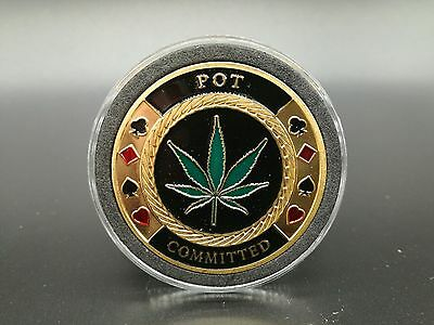 POT Committed Poker Card Protector Coin Casino Lucky Souvenir Free Capsule