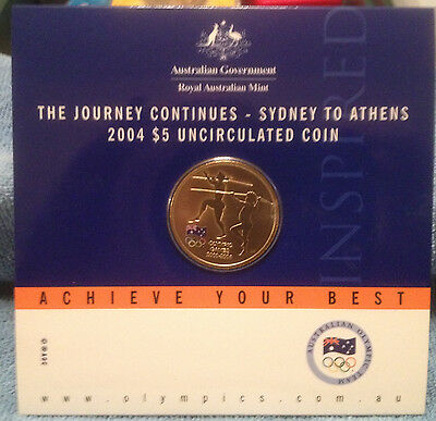 2004 $5 SYDNEY to ATHENS OLYMPIC Games Coin on Card UNC CONDITION