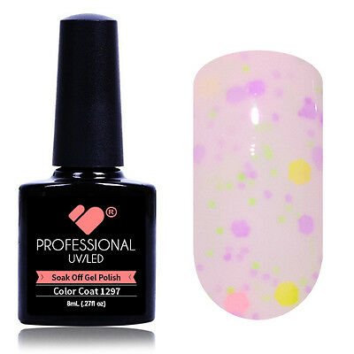 """1297"" VB® Line Milk Purple Neon Glitter UV/LED Soak Off Nail Gel Colour Polish"