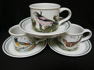 VINTAGE Portmeirion BIRDS OF BRITAIN set of three cups and saucers