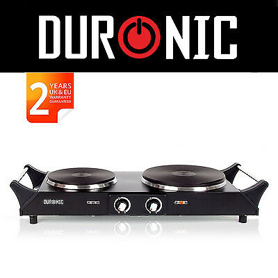 Duronic HP2BK 2500W Black Portable Double Hob Cooker Table Dual Twin Hot plate