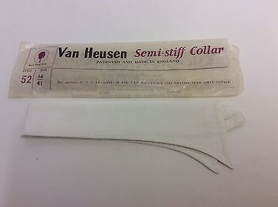 Vintage van heusen semi stiff white collar size 16.5 original packet