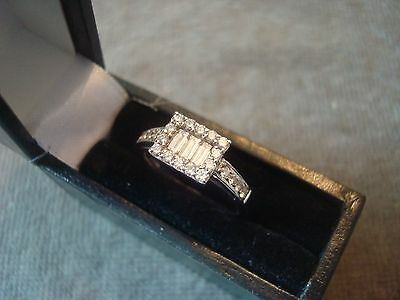 LADIES .750 18CT WHITE GOLD DIAMOND .50 RING 3.7g SIZE I 1/2 BOXED REF1971