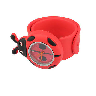 Kids Unisex Digital Slap Watch Red Cute Cartoon Silicone Band Snap Wrist Watches