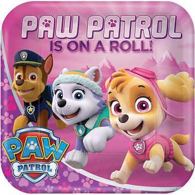 """Paw Patrol Girls Paper Plates 9""""/23Cm Pack Of 8 Birthday Party Supplies"""