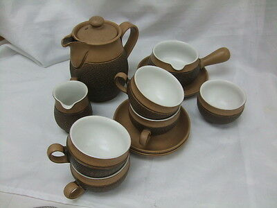 Denby Cotswold Brown Textured Coffee Pot Cups Saucers Sauce Boat Milk Jug