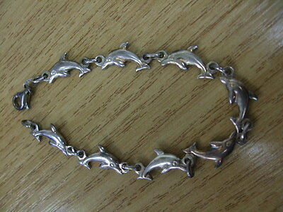 Silver Hallmarked 925 Dolphins Linked Bracelet 7.3 grams