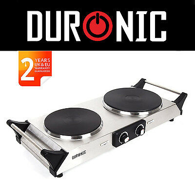 Duronic HP2SS 2500W Stainless Steel Portable Double Hob Cooker Twin Hot plate