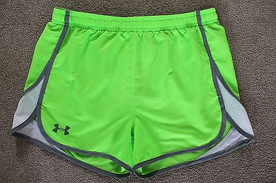 Under Amour Gym Running Shorts YXL Loose Kids Youth Neon Green Athletic