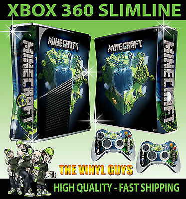 Xbox 360 Slim Sticker Building Block Planet Steve Graphic Kit Skin & 2 Pad Skins