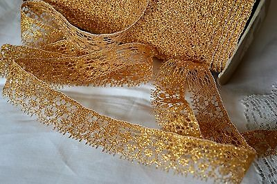 Antique/vintage_Gold_Threads_Lace_Trim_Made_In_France_N.o.s_Lots_Of_Yardage