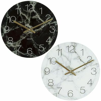 Karlsson Small Marble Effect 16.5cm Home or Office Wall / Table / Shelf Clock