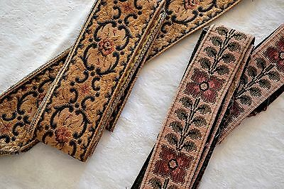 """2.56_Yds_Antique_French_Tapestry_Trim_Ribbon_2.7""""_Wide"""