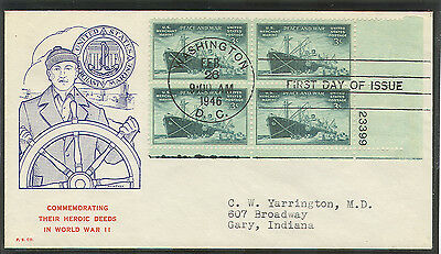 Scott 939 Merchant Marine Mcintyre Plate Block First Day Cover Fdc Kings Point