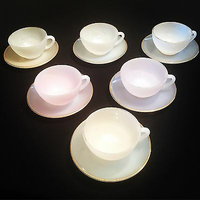 Vintage Arcopal Glass French Opalescent Harlequin Teacups & Saucers Set of 6