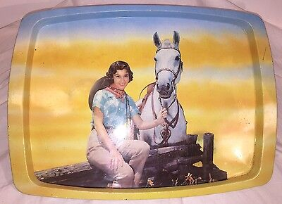 Vintage 1960s Western Themed Metal Serving Tray,  Cowboy Cowgirl Collection