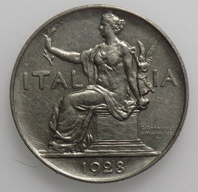 Italy 1928 1 Lira Coin  -  Extremely Fine  +