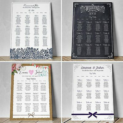 Personalised Wedding Table Seating Plan Planner - Vintage Rustic Themes
