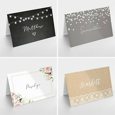 Personalised Wedding Table Place Name Setting Cards - Rustic Vintage Themes