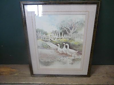 """Fine art print from watercolour; mounted & framed 22"""" x 26"""" geese, farmyard G7"""
