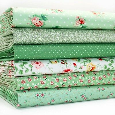 6 x FQ BUNDLE - SPRING GREEN SMALL & TINY FLORAL PRINTS - 100% COTTON FABRIC