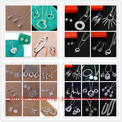 2PCS wholesale Jewelry Silver Ladies Silver Sets Earrings & Necklace