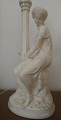 vintage gesso plaster of paris seated lady and column lamp