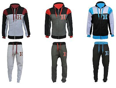 Mens Plain HNL jogging suit Tracksuit Hooded Bottoms Top Fleece