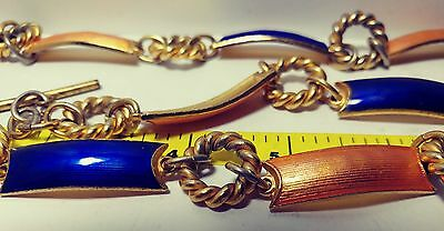 Gucci vintage 1970s enamel belt chain Blue and Amber signed on toggle