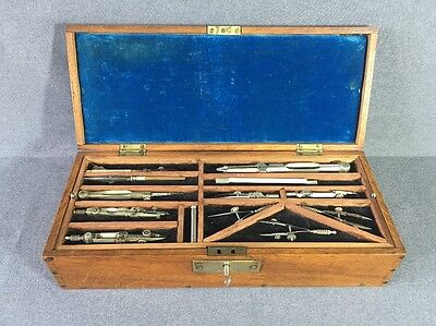 Antique Draughtmans   Drawing Set in Oak Box with Key