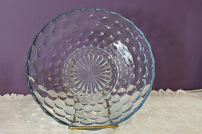 "Anchor Hocking Blue Bubble Glass 8-1/4"" Berry Bowl"
